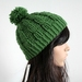100% Wool Green Cable Beanie with Pom Pom