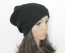 100% Wool Crochet Unisex Oversized Beanie - BLACK