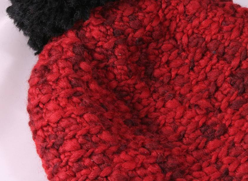 100% Wool Chunky Crochet Beanie with Pompom  - Red and Black