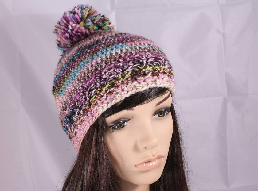 Wool Blend Chunky Crochet Beanie with Pompom  - Multicolour