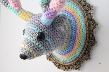 Large Faux Taxidermy Reindeer - Pastel Stripes