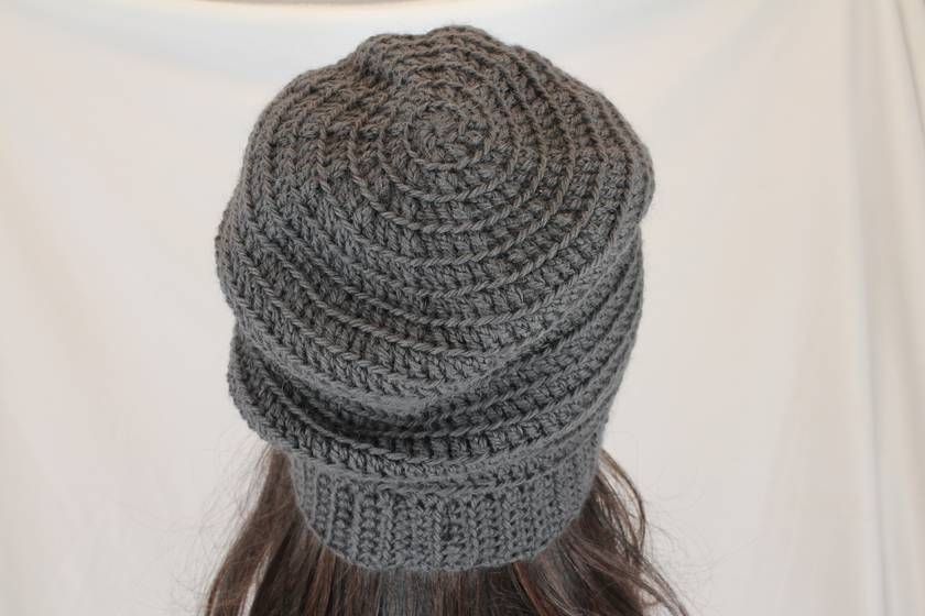 100% Wool Crochet Unisex Oversized Beanie - CHARCOAL