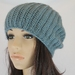 NZ Merino Possum Ribbed Crochet Slouch Beanie in Sea Foam Blue