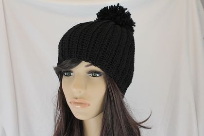 CLEARANCE Thick Warm Ribbed Slouch Beanie with Pom Pom in Black
