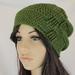 Woven Gather Crochet Slouch Beanie Wool Blend Chartreuse Green