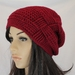 100% Wool Red Crochet  Woven Gather Slouch Beanie