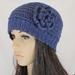 Wool & Alpaca Crochet Beanie with Flower Brooch - Blue