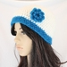 Mohair Beanie in Cream and Turquoise with Crochet Flower
