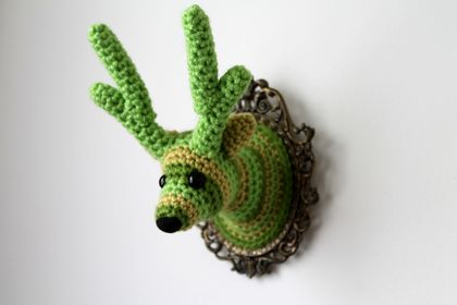 Mini Faux Taxidermy Reindeer - Green Stripes