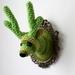 Mini Faux Taxidermy Reindeer - Green Stripes