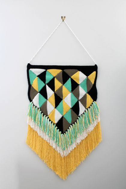 Crochet  Summer Diamonds Wall Hanging