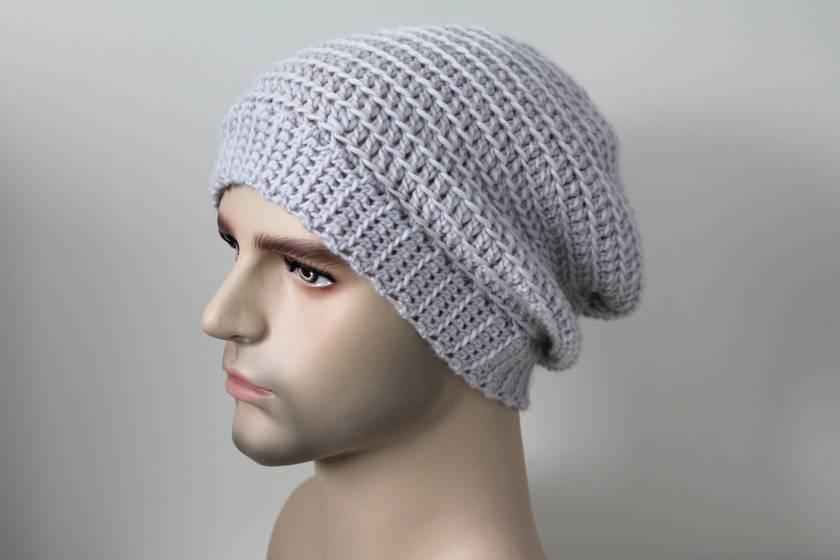 100% Wool Crochet Unisex Slouch Beanie Light Grey