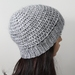 Super Soft Wool Alpaca Mohair Blend Crochet Beanie - Grey