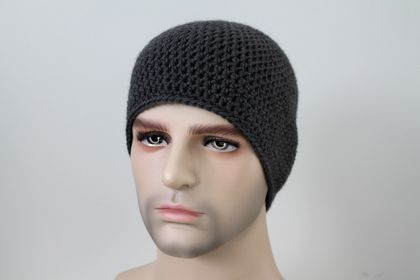 100% Wool Crochet Unisex Beanie - Dark Grey