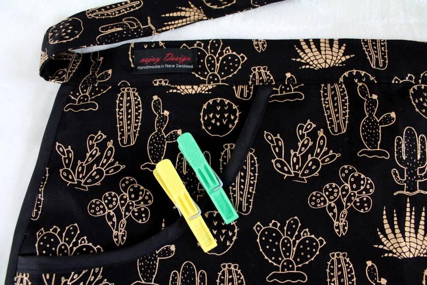 Peg Apron - Black & Gold Cactus