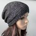 Super Soft Crochet Silver Black Slouch Beanie