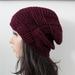 100% Wool Purple Plum Crochet  Woven Gather Slouch Beanie