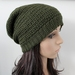 100% Wool Crochet Unisex Oversized Beanie - OLIVE
