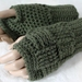 100% Wool Crochet Basketweave Fingerless Gloves - OLIVE