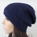 100% Wool Crochet Unisex Oversized Beanie - Navy Blue