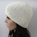 100% Wool Crochet Unisex Beanie - Cream