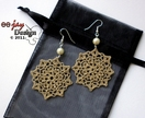 Delicate Crochet Lace Earrings in Taupe with Cream Pearls