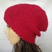 100% Wool Crochet Unisex Oversized Beanie - Red
