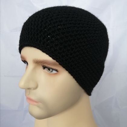 100% Wool Crochet Unisex Beanie - Black