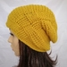 100% Wool Woven Gather Slouch Beanie - Mustard