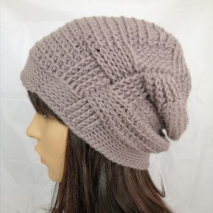 100% Wool Grey Woven Gather Slouch Beanie