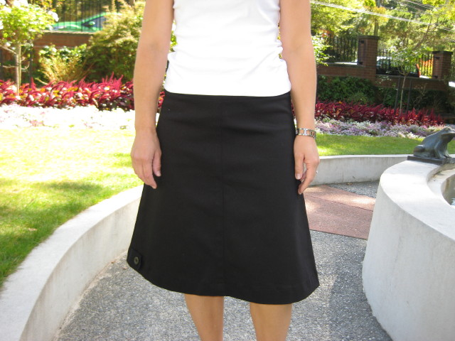 Essential A-line Skirt - Black Stretch Cotton | Felt