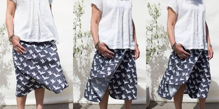 Cranes midi snap wrap skirt average size