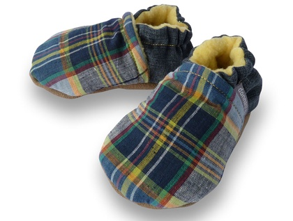 Blue Checker Baby Booties - 0-6 months