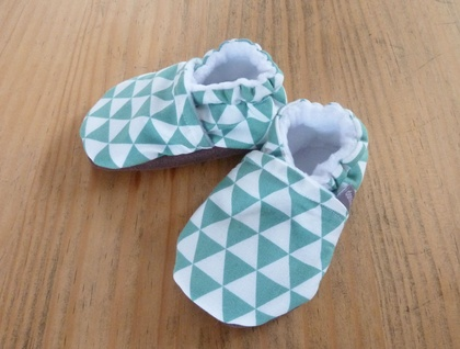 Triangle Pattern Baby Booties - Teal - 6-12 months
