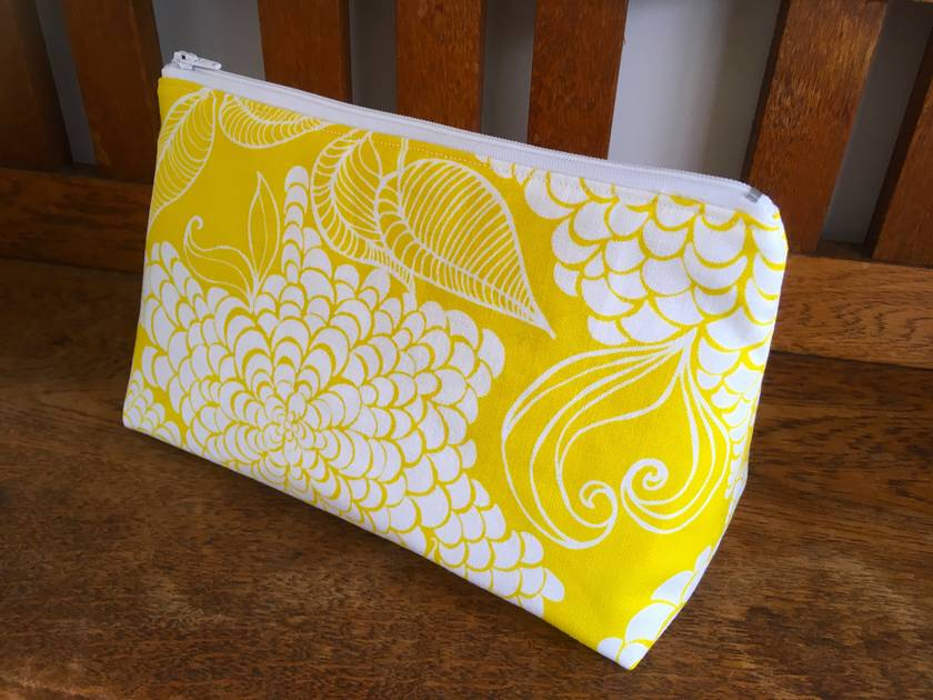 Bright Yellow Floral Cosmetic Bag