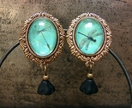 Teal Dragonfly Dandelion antique brass earring studs