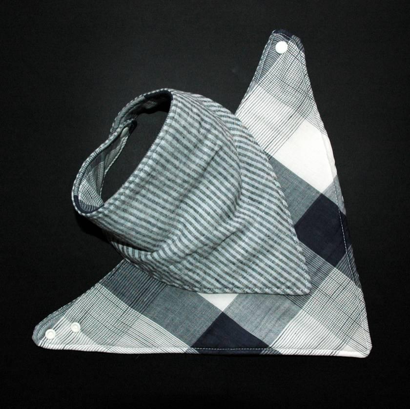 Boutique Baby Bibs - Checkers & Stripes Reversible Bandana Bib