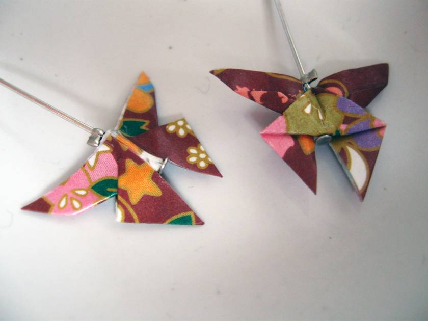 Origami Butterfly Hanging Earrings- brown pattern