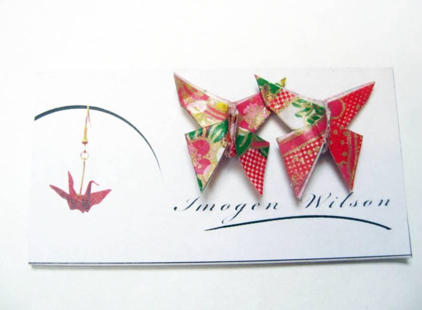 Origami Butterfly Stud Earrings Red Felt