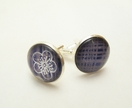 Glass cabochon cuff links- Royal blue, gold cross hatching, silver cherry blossom Washi paper- 18mm