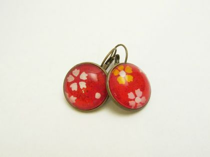 Bright, Bold Red Washi Paper (with white, yellow, pink cherry blossoms) Glass Cabochon Earrings- 18mm