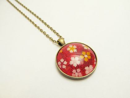 Bright, Bold Red (with white, yellow, pink cherry blossoms) Japanese Washi Paper, Glass Cabochon Necklace- 30mm