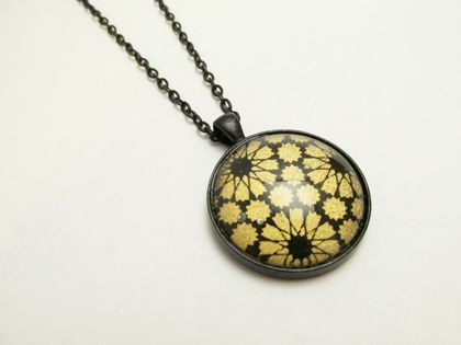 Black & Gold Japanese Washi Paper, Glass Cabochon Necklace- 30mm