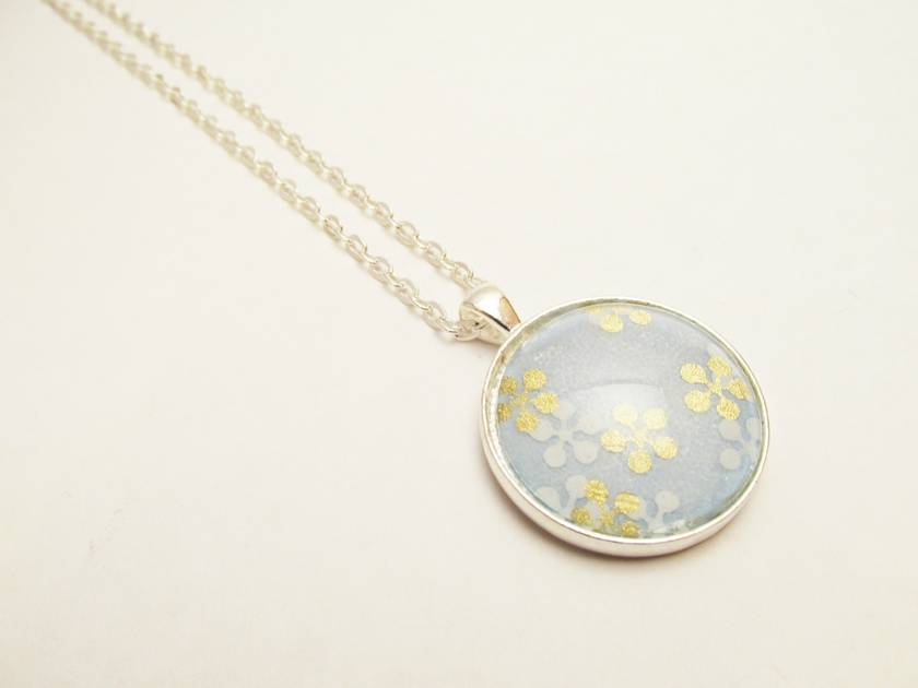 Washi Paper, Glass Cabochon Necklace. Light Blue with Silver & Gold Japanese Cherry Blossoms- 30mm