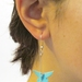 Handmade Origami Paper Butterfly Earrings -Striped Blue & White
