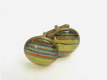 Green & Gold Stripey Washi Paper Glass Cabochon Cuff Links- 18mm