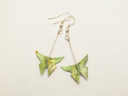 Origami Butterfly hanging Earrings- Green marbled