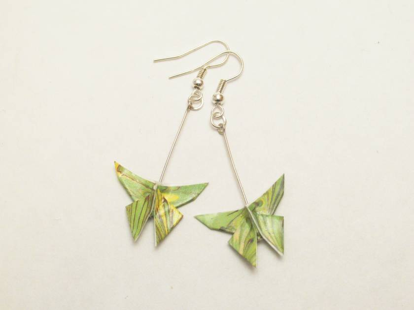 Origami Butterfly Hanging Earrings Green Marbled