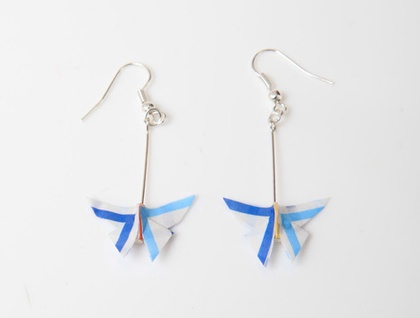 Handmade Origami Paper Butterfly Earrings -Striped Blue & White