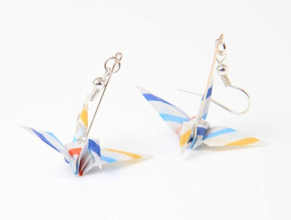 Stripey Handmade Origami Paper Crane Earrings -Striped Blue, Red, Yellow